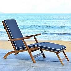 Safavieh Palmdale All Weather Chaise Lounge Chair in Teak Brown/Navy  sc 1 st  Bed Bath u0026 Beyond & Outdoor Chaise Lounges u0026 Lounge Chairs Patio Chaise Lounges | Bed ...