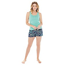 image of Munki Munki Coral Fish 2-Piece Tank and Short Set in Aqua/Navy