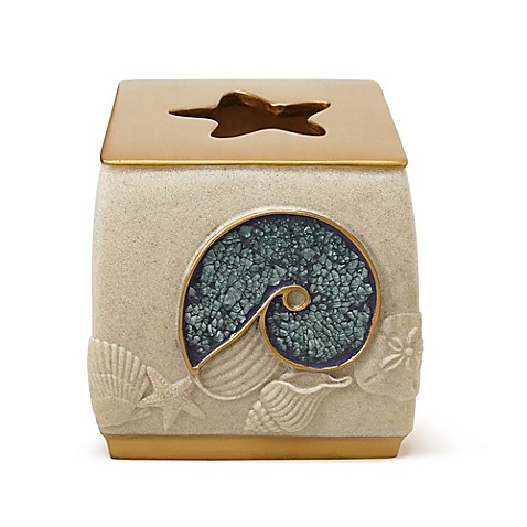 buy shell cove boutique tissue box cover in blue from bed bath beyond. Black Bedroom Furniture Sets. Home Design Ideas