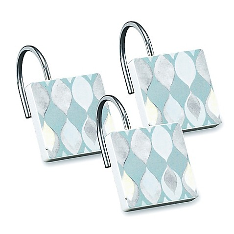 Shell Rummel Sea Glass Shower Curtain Hook In Teal Set Of