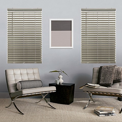 Glowe By The Shade Store 174 Cordless Faux Wood Blinds Bed