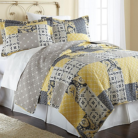 Aalia Reversible Quilt Set in Yellow Grey Bed Bath & Beyond