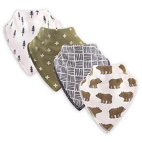 Hudson Baby® 4-Pack Bears Cotton/Fleece Bandana Bibs in Green - buybuy BABY