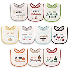 image of Hudson Baby® 10-Pack Holiday Drooler Bibs in White