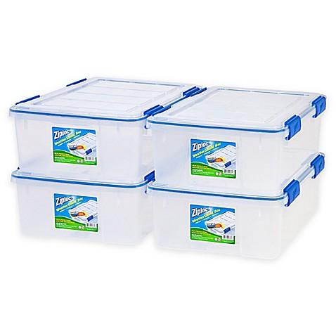Ziplocu0026reg; WeatherShield 26.5 qt. Storage Boxes in Clear (Set ...  sc 1 st  Bed Bath u0026 Beyond & Ziploc® WeatherShield 26.5 qt. Storage Boxes in Clear (Set of 4 ...