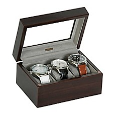 image of Mele & Co. Granby Glass Top Wooden Watch Box in Mahogany