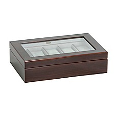 image of Mele & Co. Hudson Glass Top Wooden Watch Box in Mahogany