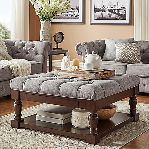 buy verona home annie button tufted cocktail table ottoman in grey from bed bath beyond. Black Bedroom Furniture Sets. Home Design Ideas