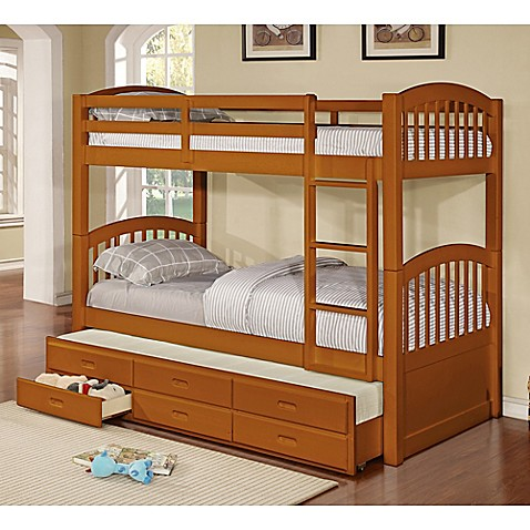 K Amp B Furniture Twin Over Twin Bunk Bed With Trundle And