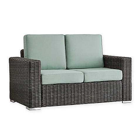 Buy Verona Home Brescia All Weather Wicker Loveseat In Charcoal Blue From Bed Bath Beyond