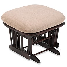 image of Dutailier® Wood Ottoman in Matrix Peeble Fabric/Cherry Wood