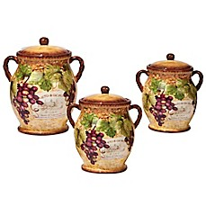 image of Certified International Gilded Wine 3-Piece Canister Set