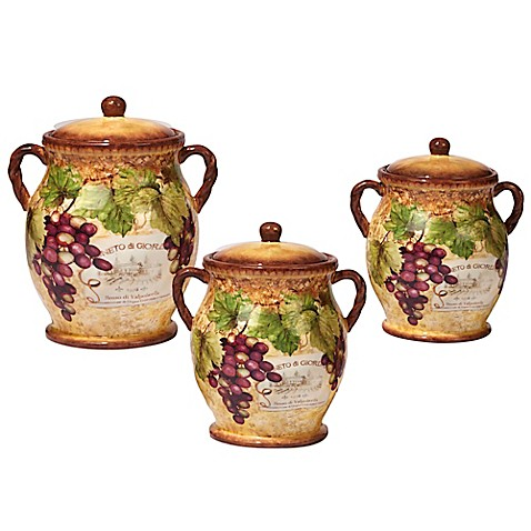 Certified International Gilded Wine 3 Piece Canister Set
