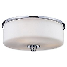 image of Ivana 2-Light Flush-Mount Ceiling Light in Chrome with Matte Opal Glass Shade
