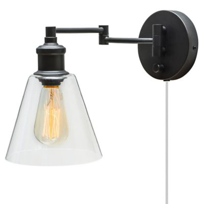 Leclair 1 light plug in hardwire wall sconce in oil rubbed bronze with