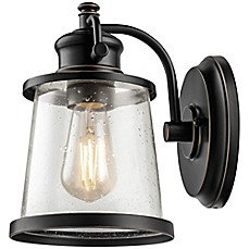 image of Globe Electric Charlie 1-Light Indoor/Outdoor LED Wall Sconce in Oil Rubbed Bronze with Glass Shade