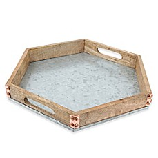image of Thirstystone® Mango Wood and Galvanized Iron Hexagon Tray