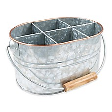 image of Thirstystone® Galvanized Metal and Copper Flatware Caddy