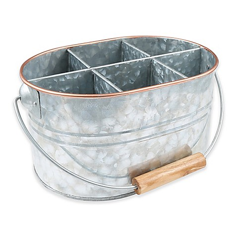 Thirstystone 174 Galvanized Metal And Copper Flatware Caddy