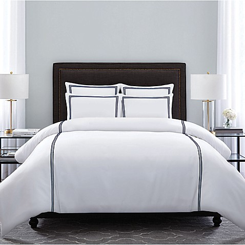 image of Wamsutta  Hotel Triple Baratta Stitch Comforter Set. Comforters   Black   White Comforters  Bed Comforter Sets   Bed
