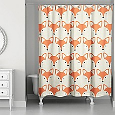 Image Of Designs Direct Fox Face Friend 74 Inch Shower Curtain In Orange