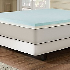 image of Combination Gel Memory Foam 3-Inch Mattress Topper in Blue/White