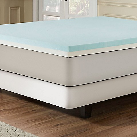 image of combination gel memory foam 3inch mattress topper in bluewhite