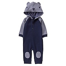 image of Gymboree® Bear Hooded Coverall in Navy