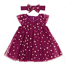image of Baby Starters® 2-Piece Tulle A-Line Dress and Headband Set