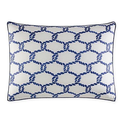 Medium Blue Throw Pillows : Nautica Cunningham Embroidered Oblong Throw Pillow in Medium Blue - Bed Bath & Beyond