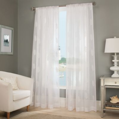 Reef sheer window curtain panel bed bath beyond for Sheer drapes privacy
