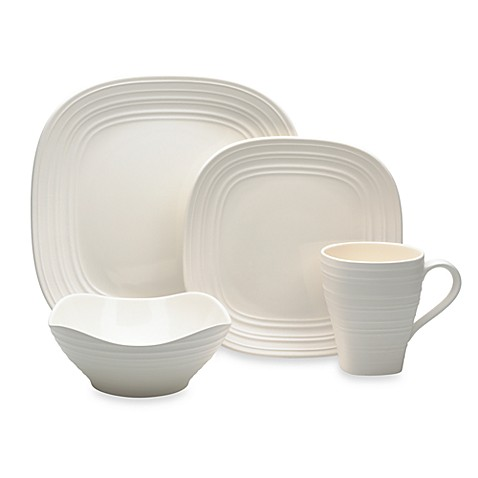 Mikasa® Swirl Square 4-Piece Place Setting in White
