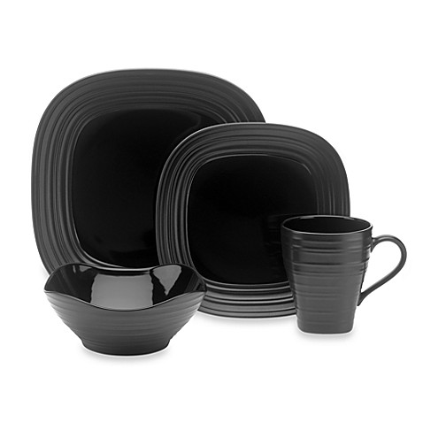 Mikasa® Swirl Square 4-Piece Place Setting in Black