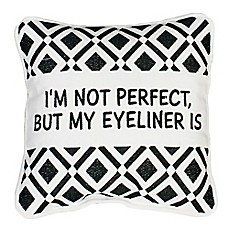 image of Thro Zoey Eyeliner Square Throw Pillow in White/Black