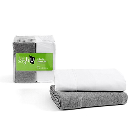 VCNY Home Style U 2-Pack Jersey/Microfiber Sheet Set