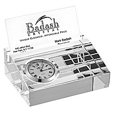 image of Badash Business Card Holder with Inlaid Clock