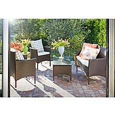 image of angelo: HOME Baxter 4-Piece Outdoor Rattan Patio Chat Set with Cushions
