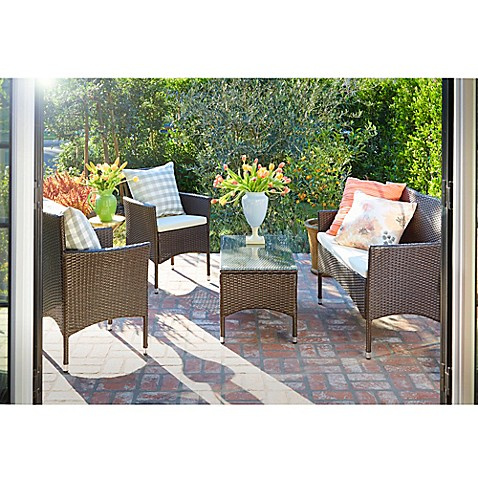 Angelo home baxter 4 piece outdoor rattan patio chat set with cushions bed bath beyond Angelo home patio furniture