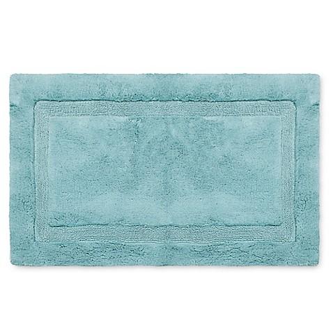 Buy Wamsutta Luxury 24 Inch X 40 Inch Border Plush Microcotton Bath Rug In Aqua From Bed Bath