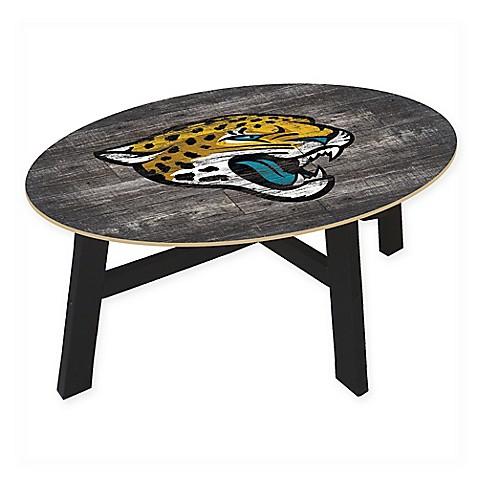 Buy nfl jacksonville jaguars distressed wood coffee table for Football coffee table