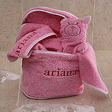 Personalized baby gifts personalized gifts for boys girls image of terry bath set in pink negle Images