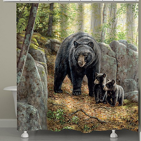 Laural Home 174 Black Bear With Cubs Shower Curtain Bed