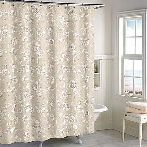 Destinations Seashell Toile Shower Curtain In Sand Bed