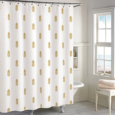 Destinations Golden Pineapple Shower Curtain Bed Bath