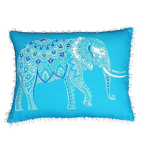 Elephant Throw Pillow Bed Bath And Beyond : Buy Thro Emmet Elephant Pom Pom Oblong Throw Pillow in Caribbean Sea from Bed Bath & Beyond