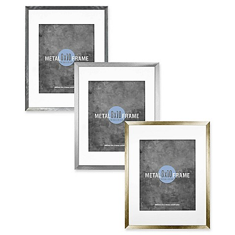 Gallery 8-Inch x 10-Inch Matted Brushed Metal Frame - Bed Bath & Beyond