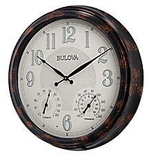image of Bulova Weather Mate Indoor/Outdoor Wall Clock in Brown