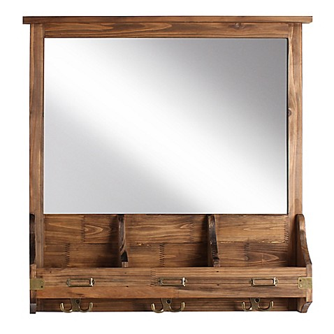 kate and laurel stallard wall mirror with hooks bed bath beyond. Black Bedroom Furniture Sets. Home Design Ideas
