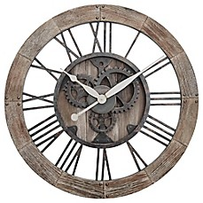 image of FirsTime® Rustic Gears Wall Clock in Natural Wood