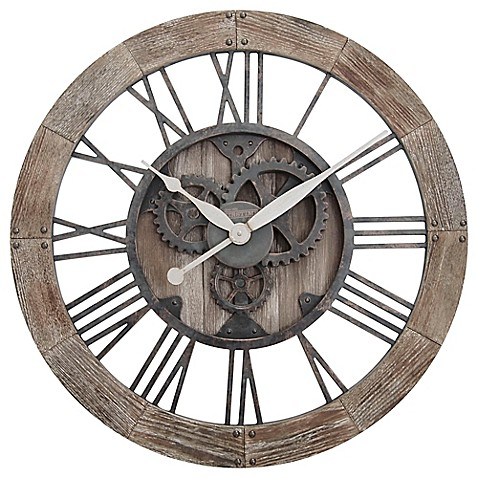 Buy Firstime 174 Rustic Gears Wall Clock In Natural Wood From